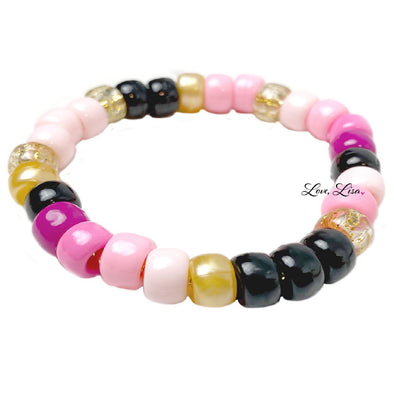 Pink Party Girl Pony Bead Stretch Bracelet