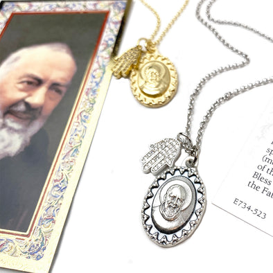 Love, Lisa's Favorite Saint Padre Pio Healing Hamsa Necklace
