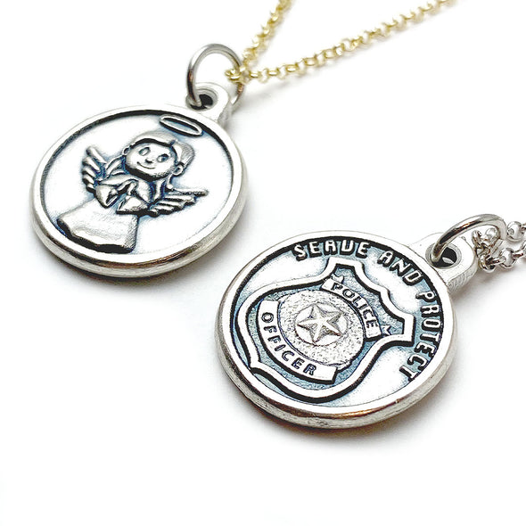 Serve & Protect Police Guardian Angel Necklace