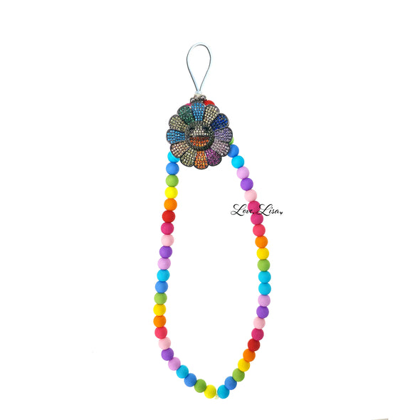 Victoria's Smiling Flower Beaded Phone Strap