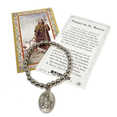 St. Rocco Patron Saint Of Dogs Beaded Stretch Bracelet