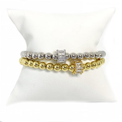 Melissa's Unique Baguette Bead Stretch Bracelet