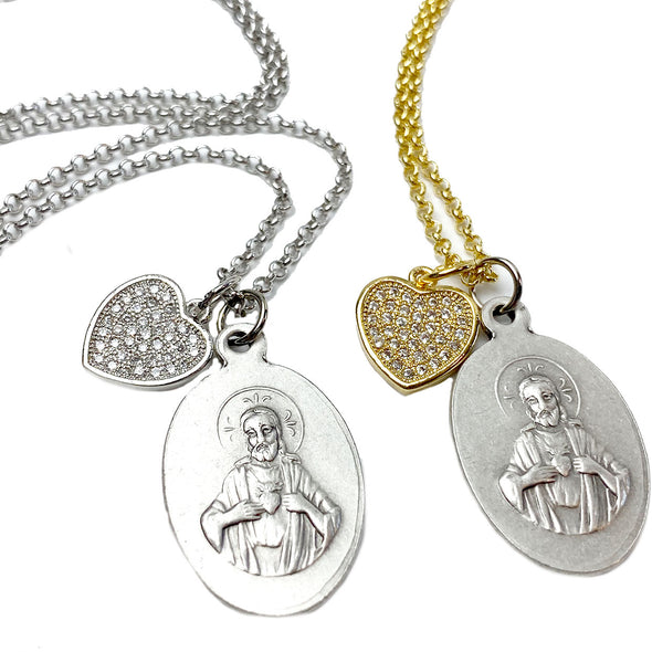 LOVE This Sacred HEART of Jesus & St. Joseph Necklace