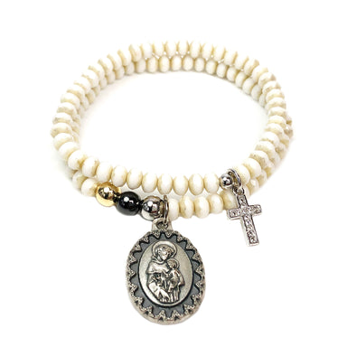 St. Anthony & Cross Charm Bracelet Set