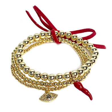 Lisa's Favorite 3 Stack of Italian Horn Cornicello Bracelets