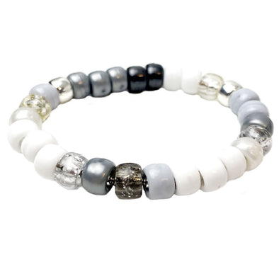 White Lightning Pony Bead Stretch Bracelet