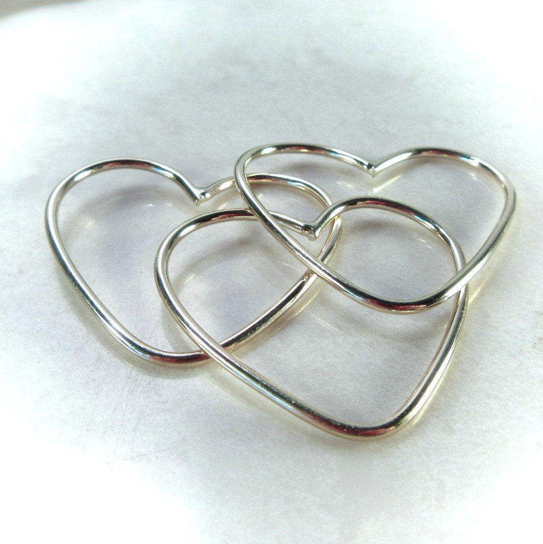 Gold, Silver and Pink Gold hearts for jewelry making mystic supplies