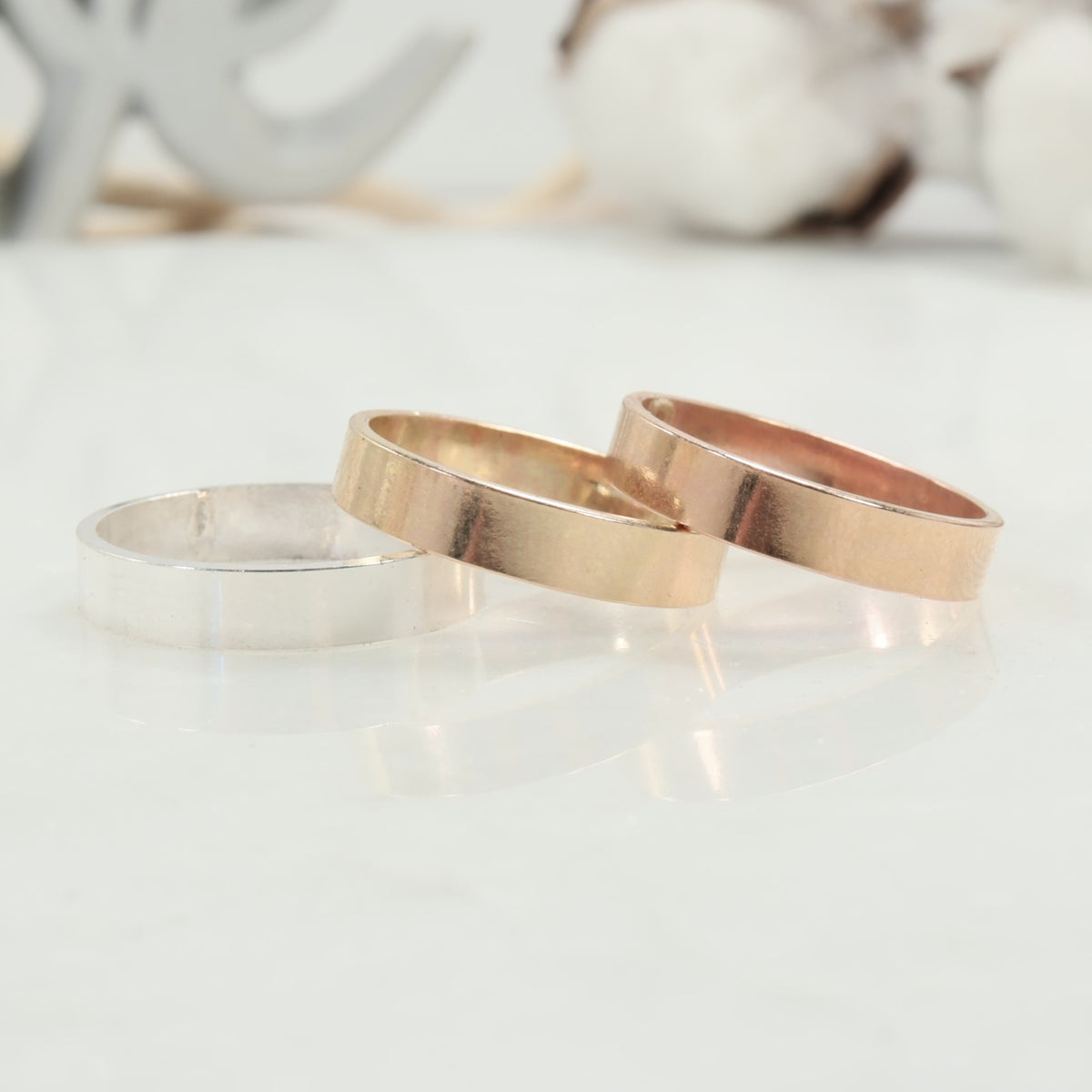 engraving ring blanks silver, gold, pink gold