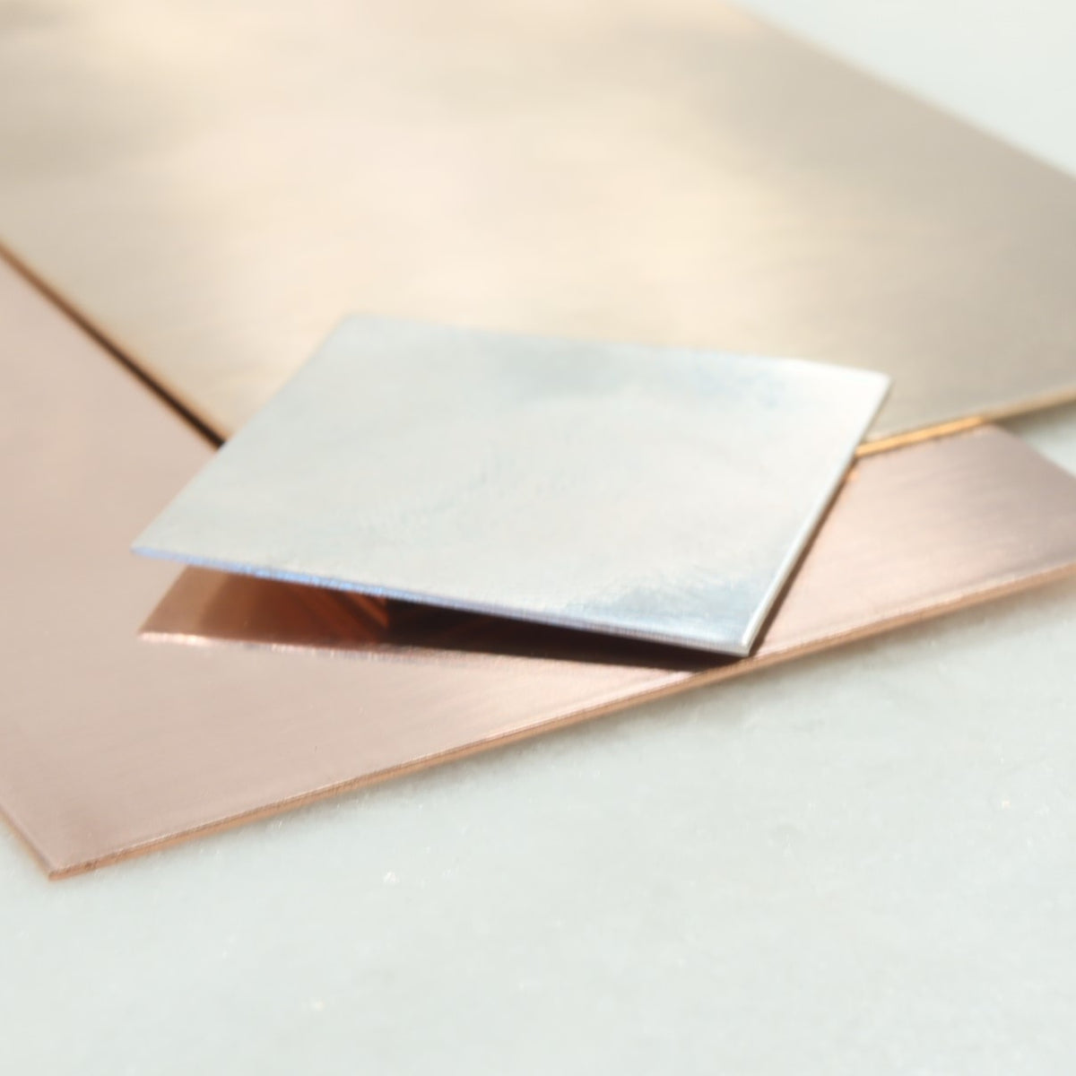 silver, gold and pink gold sheet for jewelry making