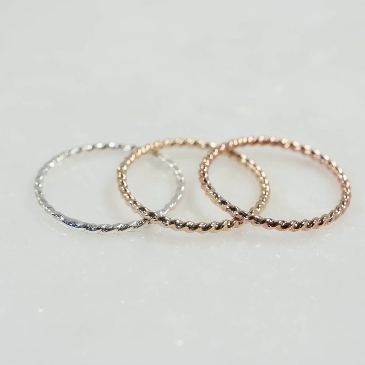 thin band accent rings silver, gold, pink gold