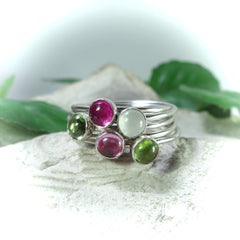 Pre made gemstone accent rings