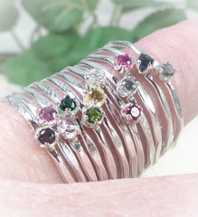 2mm birthstone cubic zirconia rings