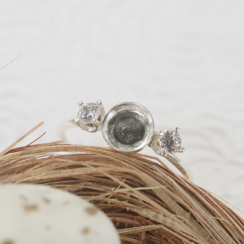 top view bezel cup ring with cubic zirconia