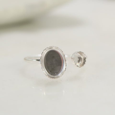 double serrated sterling silver .925 ring setting