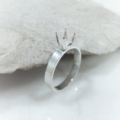 4 prong silver ring settings for faceted stones
