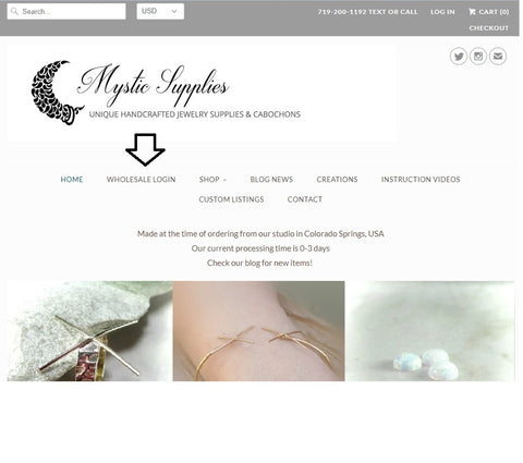 wholesale login at mystic supplies