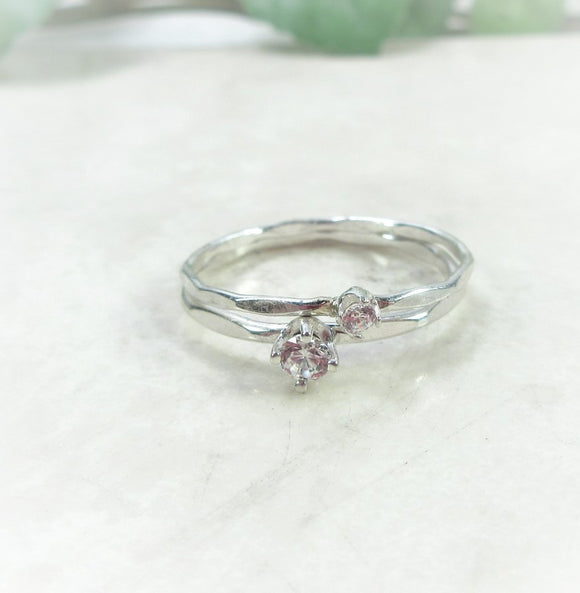 cubic zirconia thin band birthstone rings