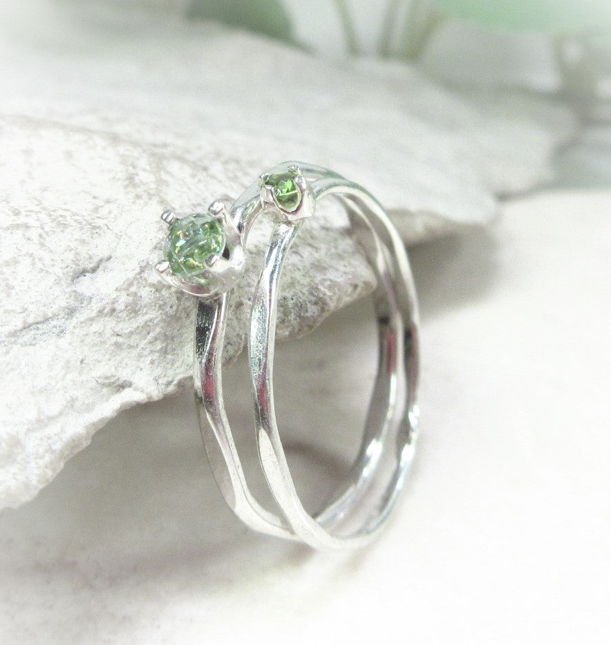 3mm and 2mm cubic zirconia birthstone ring