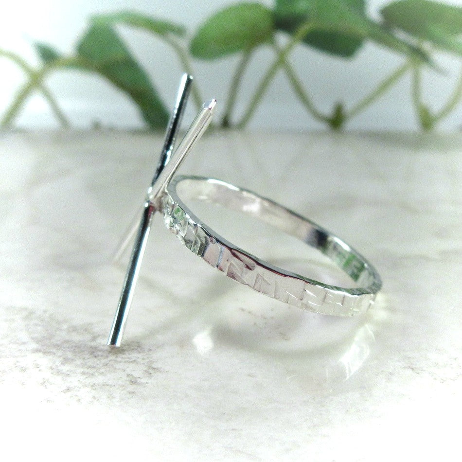 raw gemstone ring setting silver 2 mm