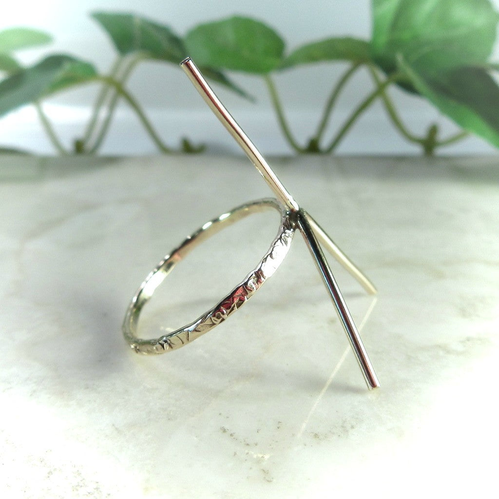 side view 1mm gold gemstone ring blank