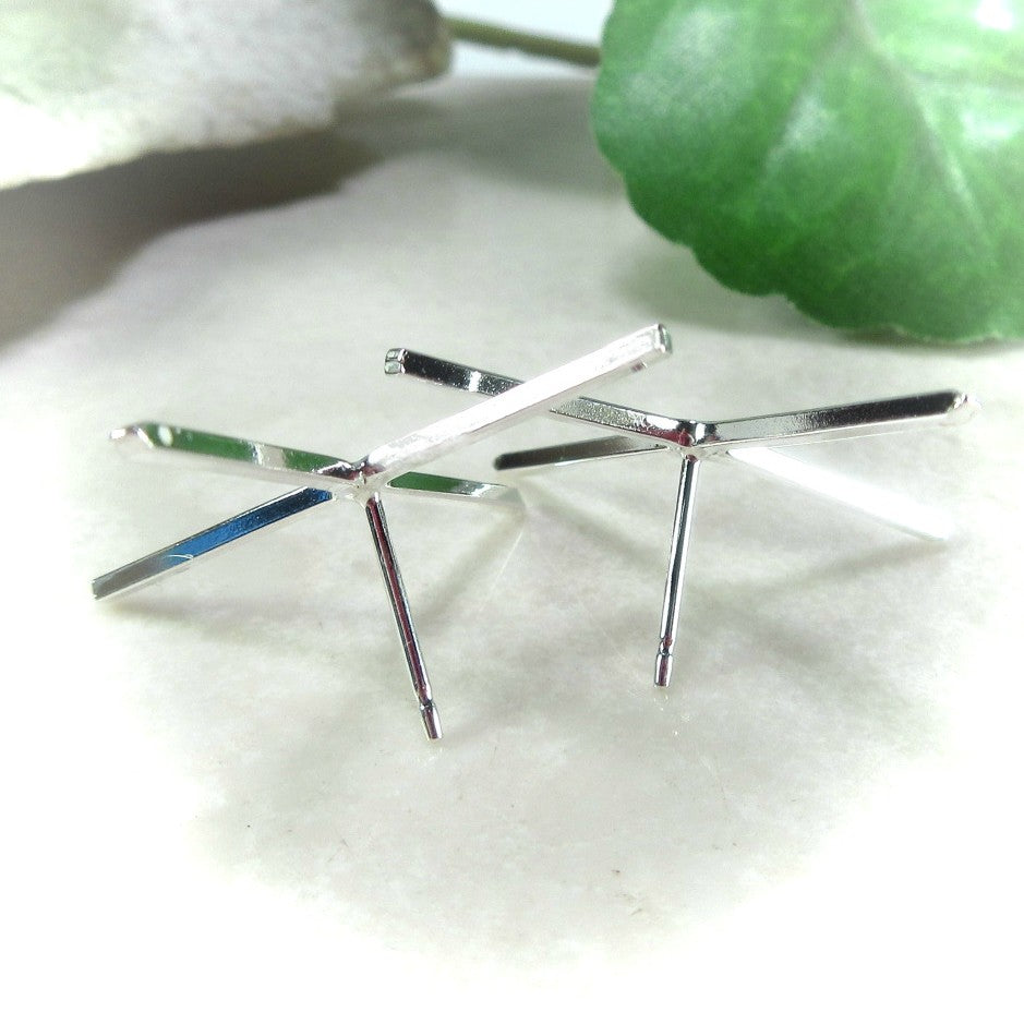 4 prong square silver earring setting