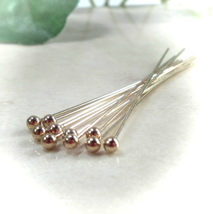 Ball Headpins Gold Filled 1 Inch 26 Gauge 10 pcs