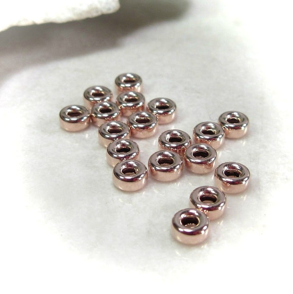 pink gold roundel beads