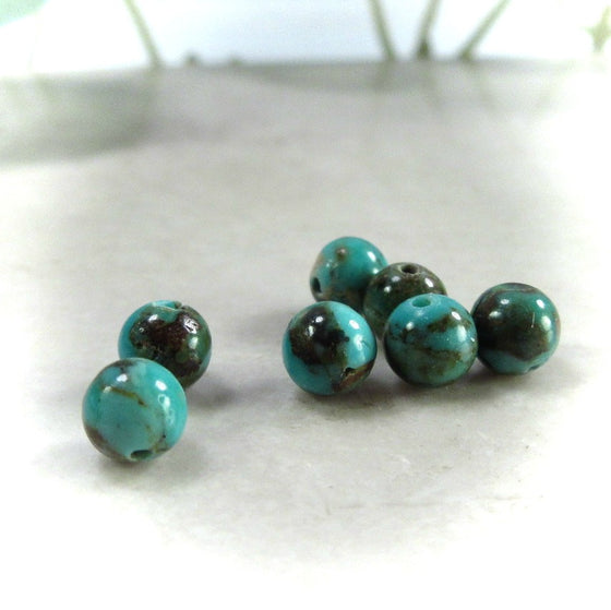 Boulder Turquoise Round Beads 4mm - 25pcs