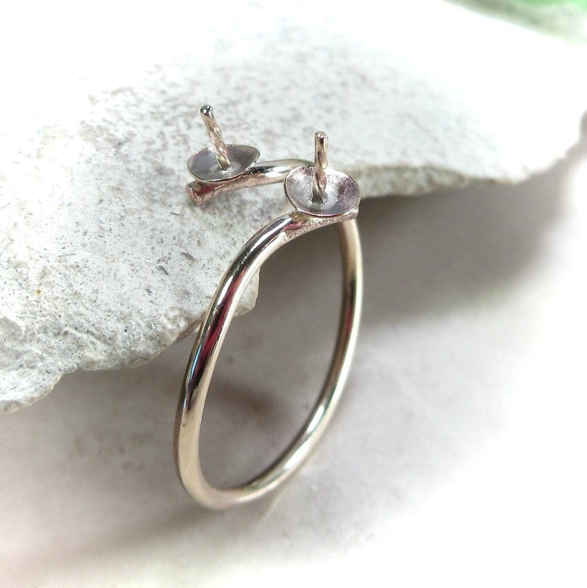 top view gold pearl ring setting