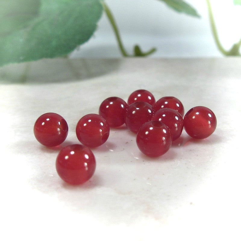 Carnelian Gemstone Beads 4mm Round - 25pcs