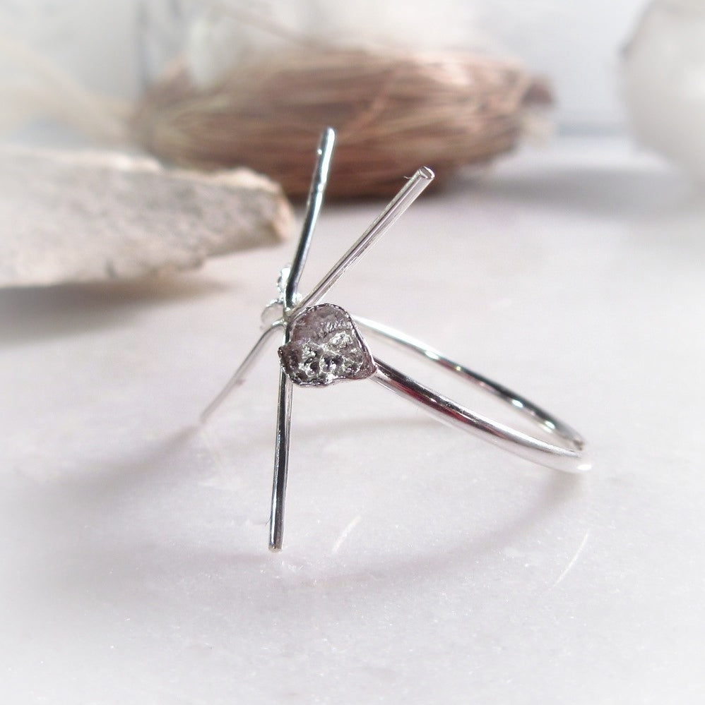Twigs Raw Gemstone Ring Setting Sterling Silver Plain 16g 4 Prong with Leafs