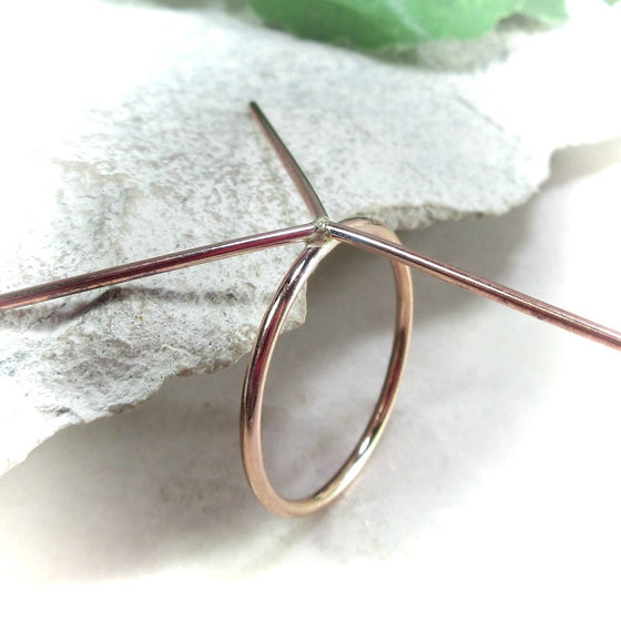 above view 1.5 mm pink gold 3 prong ring Blank