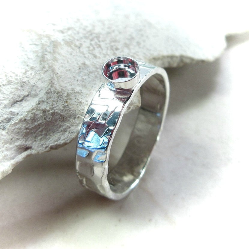 chiseled sterling silver ring setting 4mm wide band