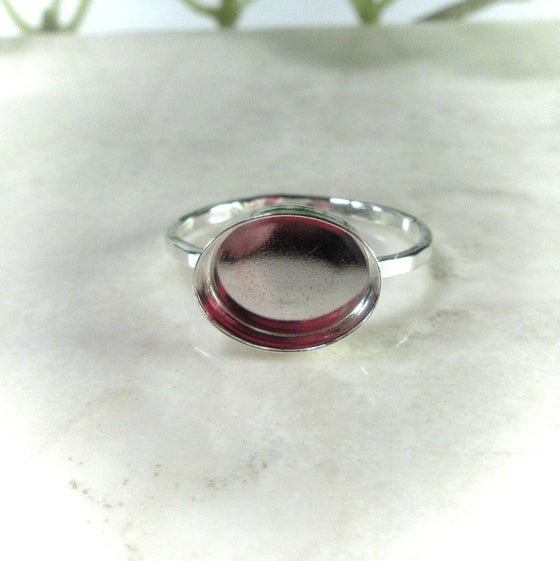 front view of 8x10 bezel cup ring setting
