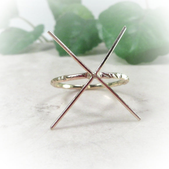 above view 1.5 mm pink gold cross cut ring setting