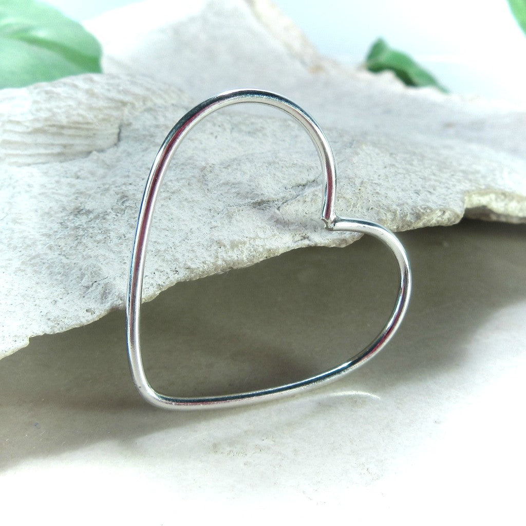 silver 27mm heart for jewelry making