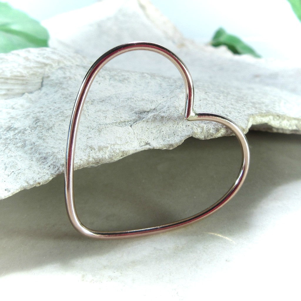pink gold heart for jewelry making 27mm