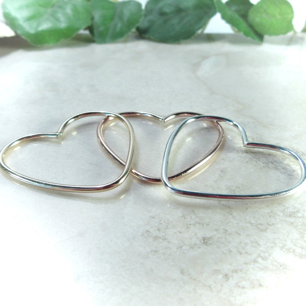 silver gold and pink gold hearts for jeelry making