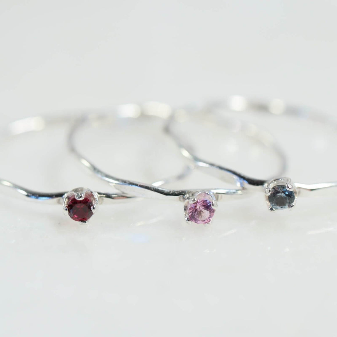 2mm birthstone cubic accent rings