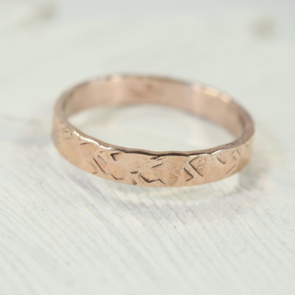 5mm chiseled stamping ring pink gold