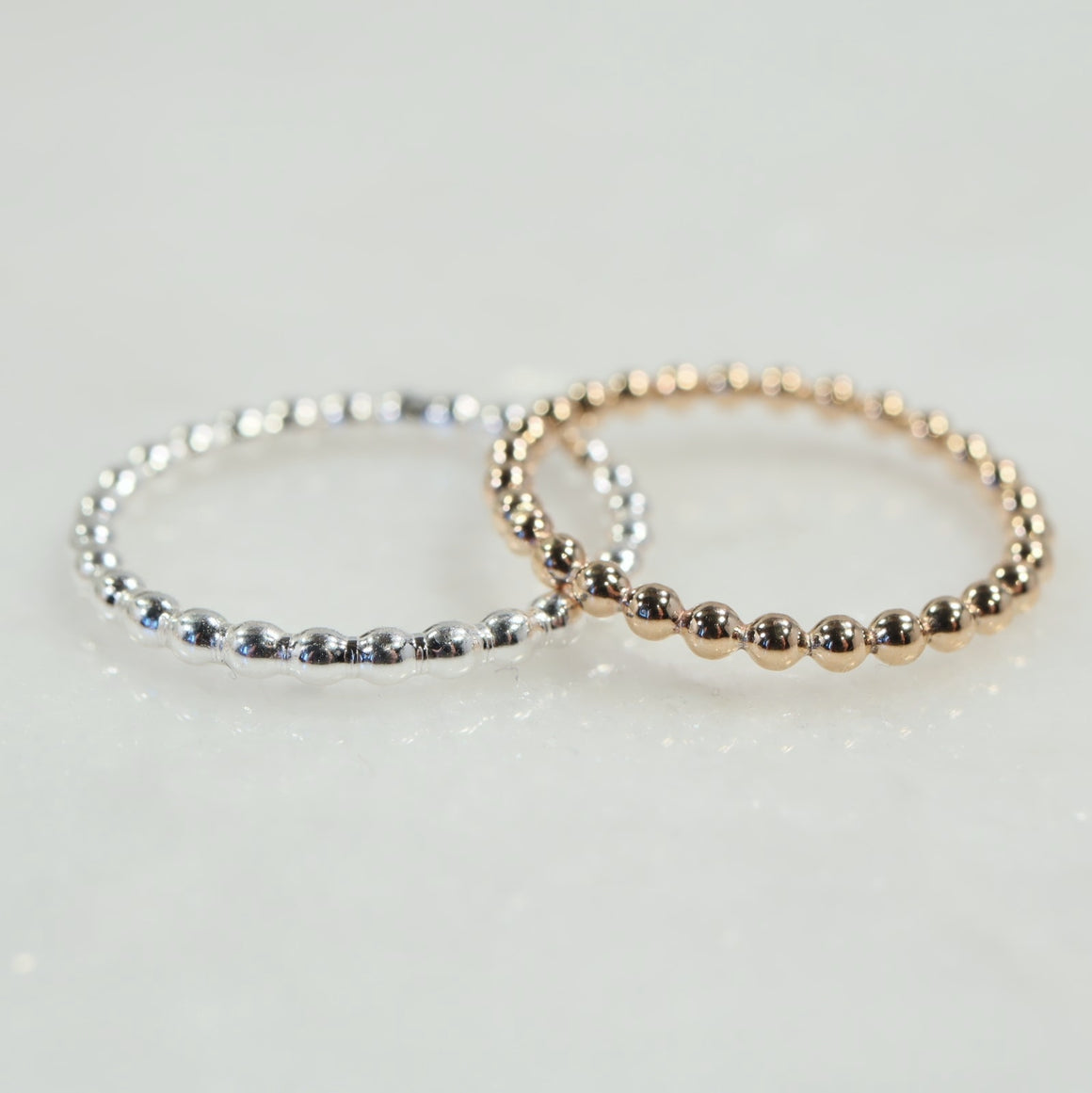 bead accent rings silver, gold