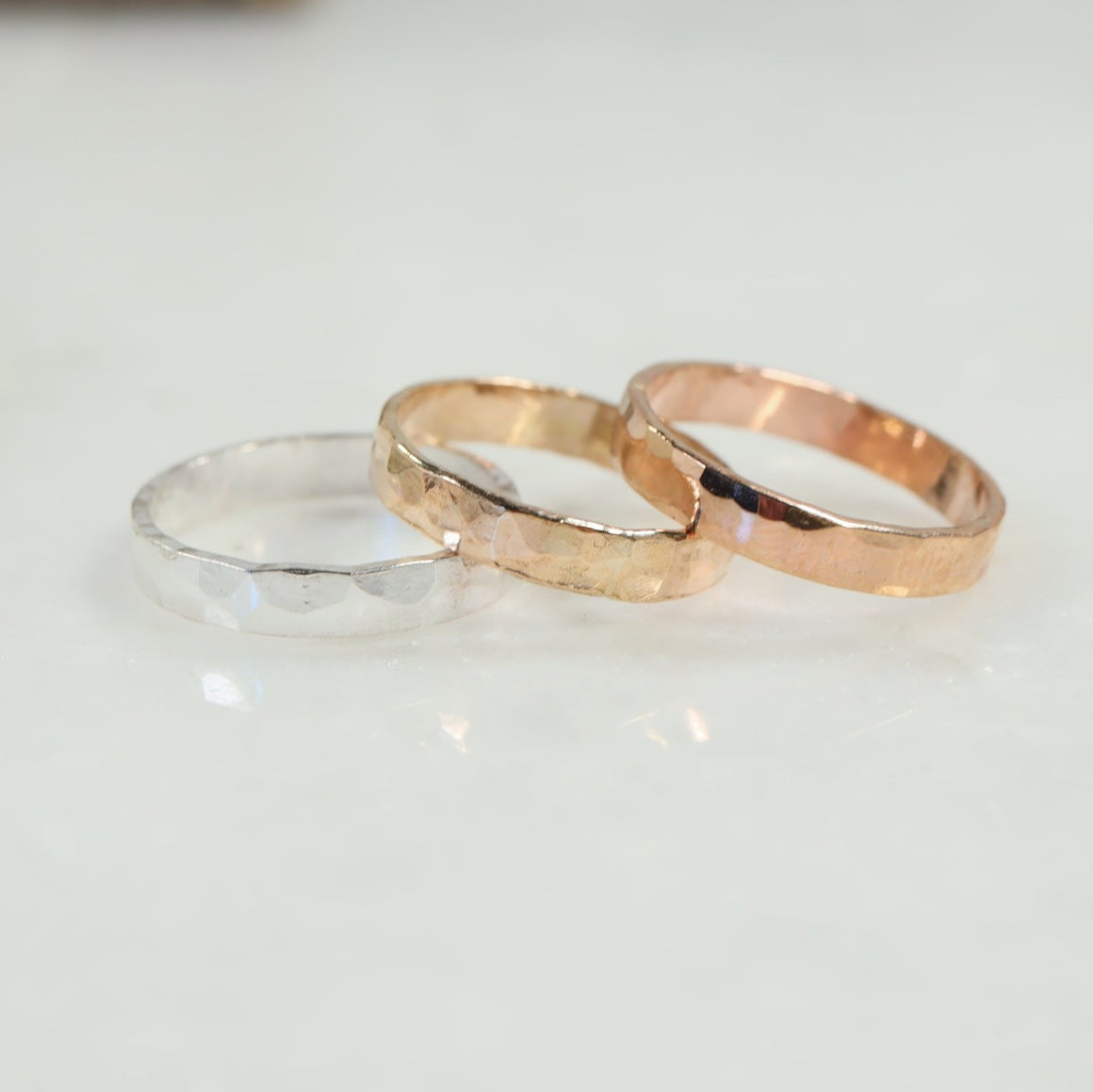 3mm hammered stamping ring silver, gold, pink gold