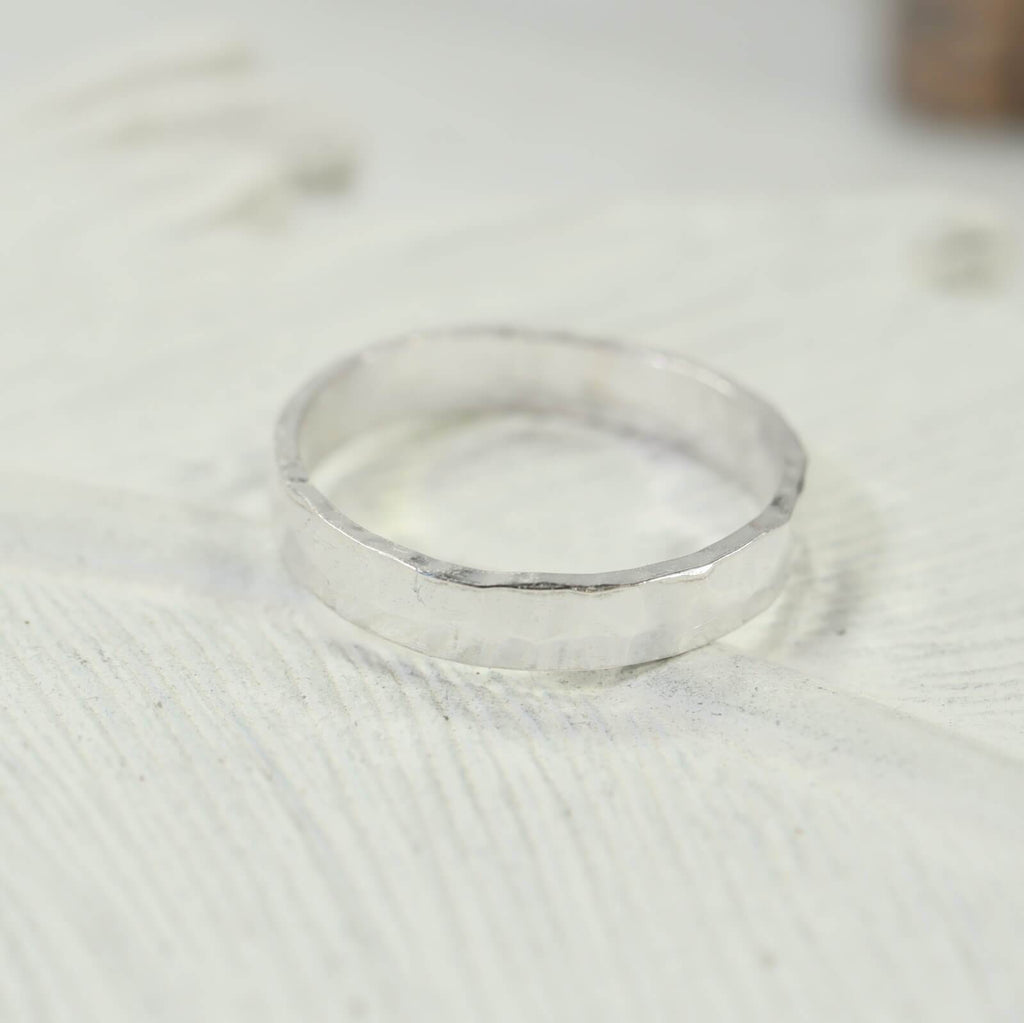 3mm hammered stamping ring silver