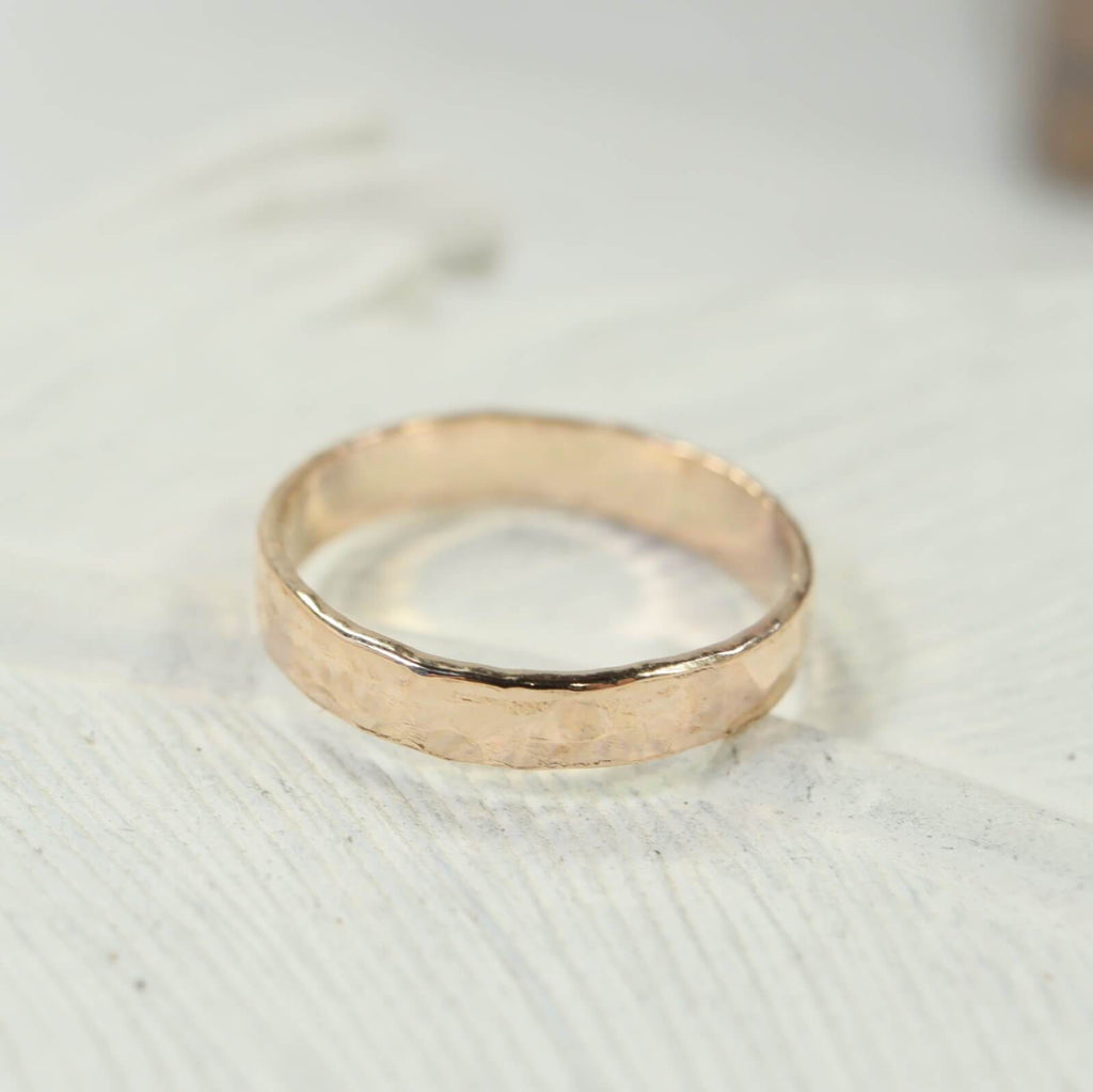 6mm hammered stamping ring gold