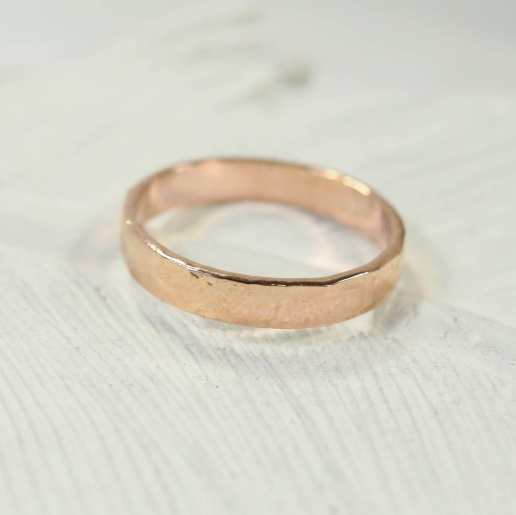 3mm hammered stamping ring pink gold