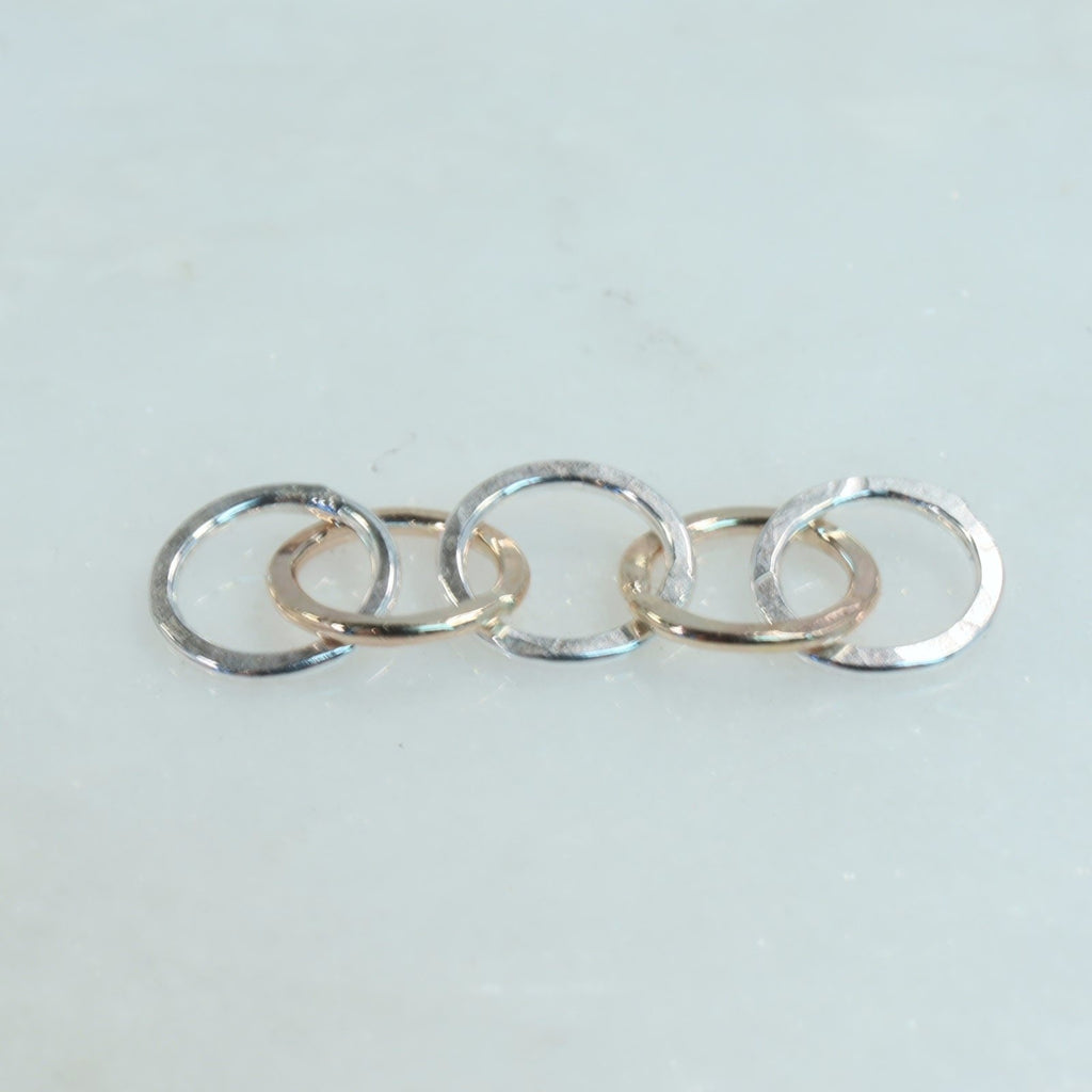 silver and gold 5 circle links for jewelry making