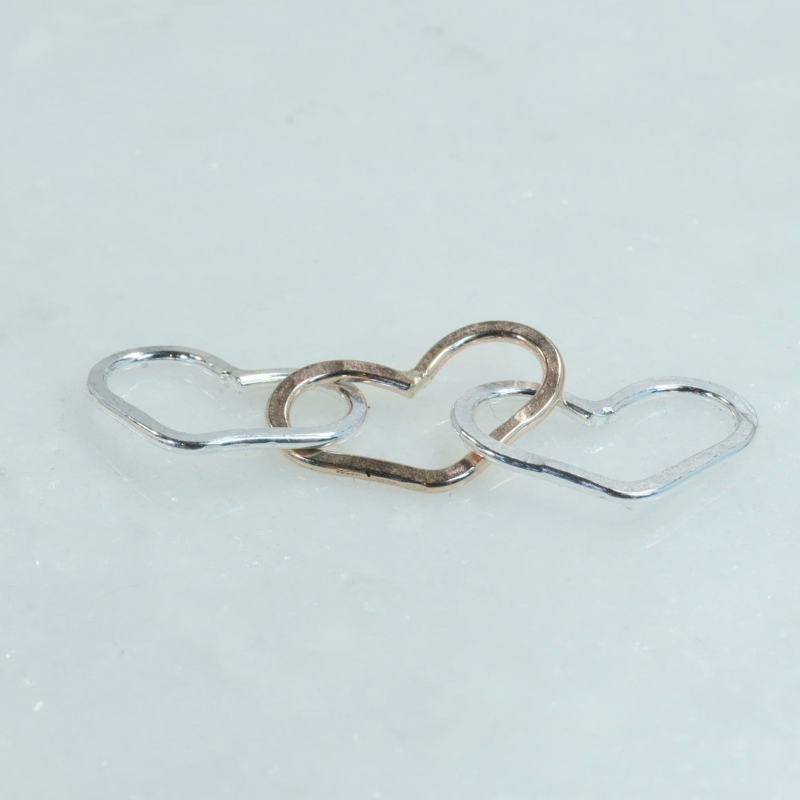 silver & gold heart links for jewelry making