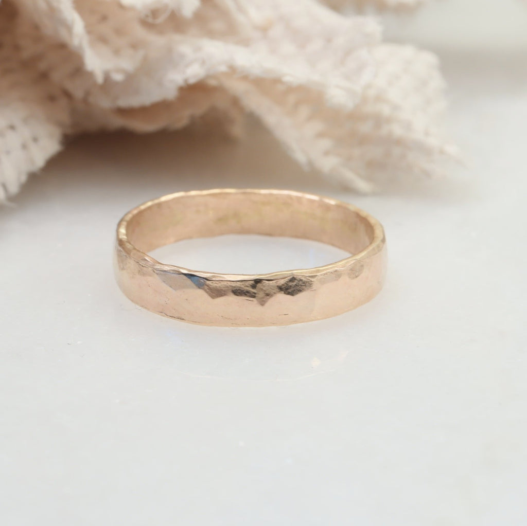 3mm 14 yellow gold hammered ring