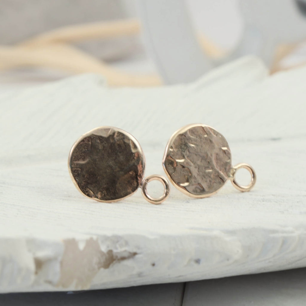 gold hammered post earring setting with ring