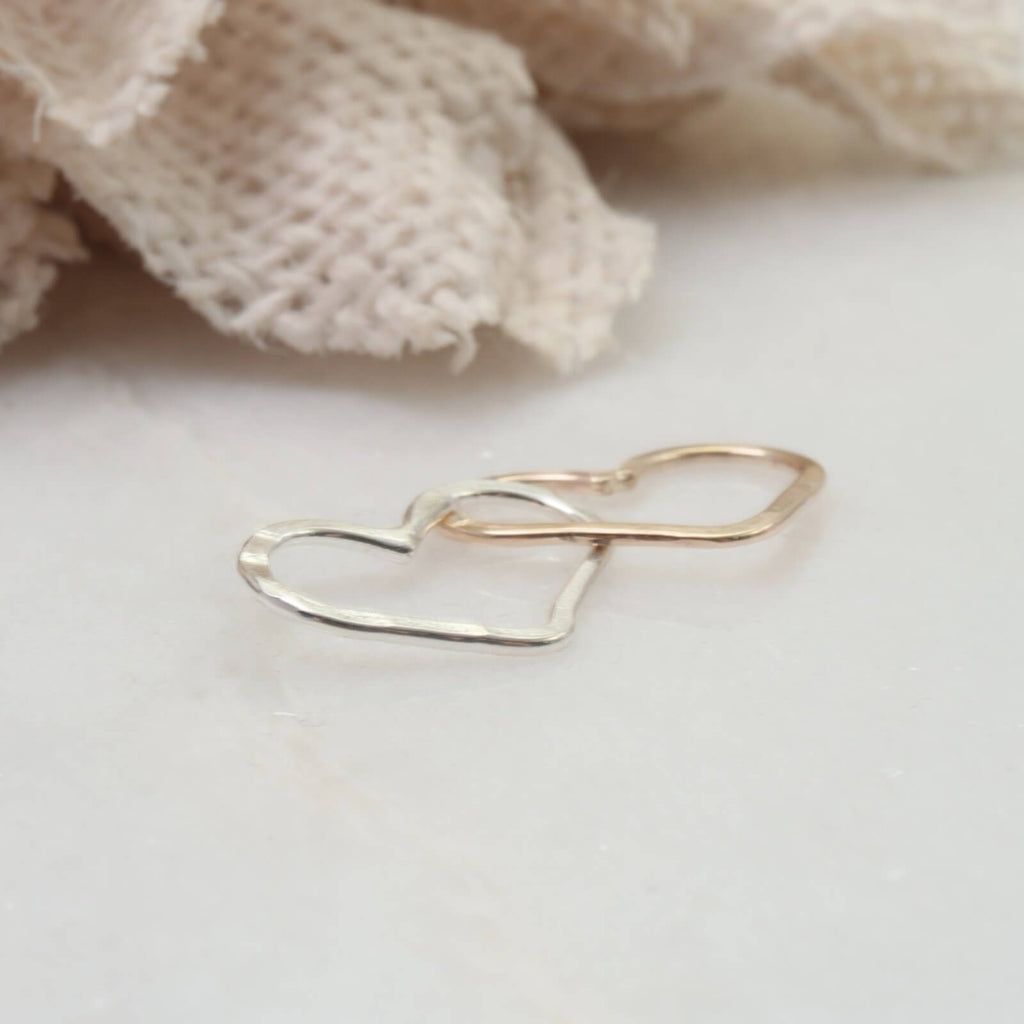 double heart link silver pink gold